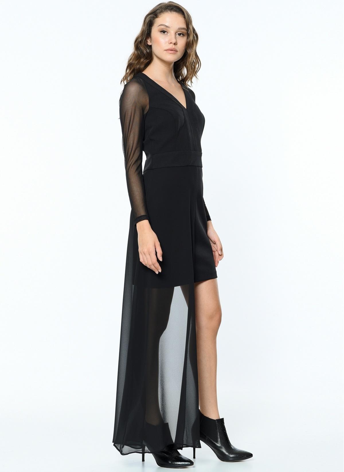 2decf44ce508f Koton Kadın Kolları Şifon Mini Elbise Black İndirimli Fiyat ...
